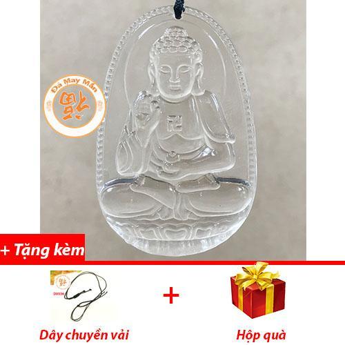 Mặt Dây Chuyền Phật Bản Mệnh A Di Đà Lưu Ly Trắng Nhỏ