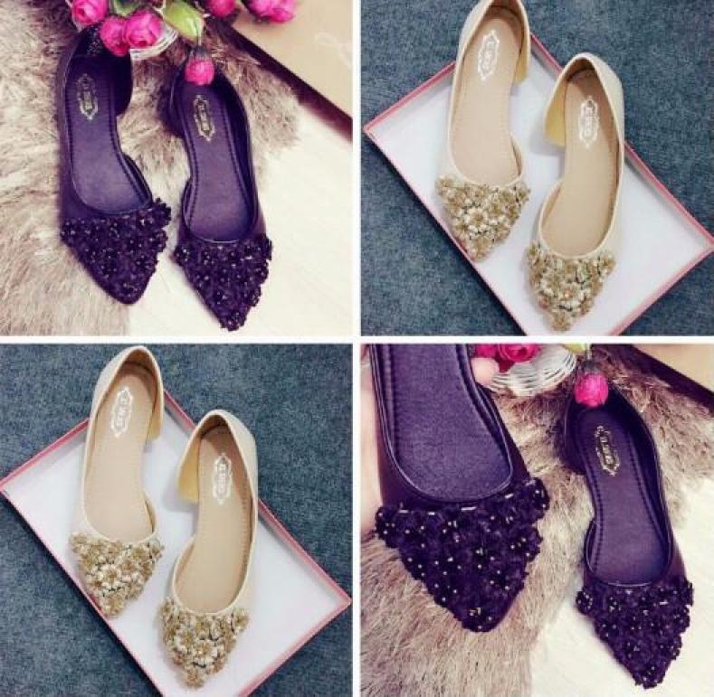 Giày Búp bê Hở hông Hoa cúc-vàng giá rẻ