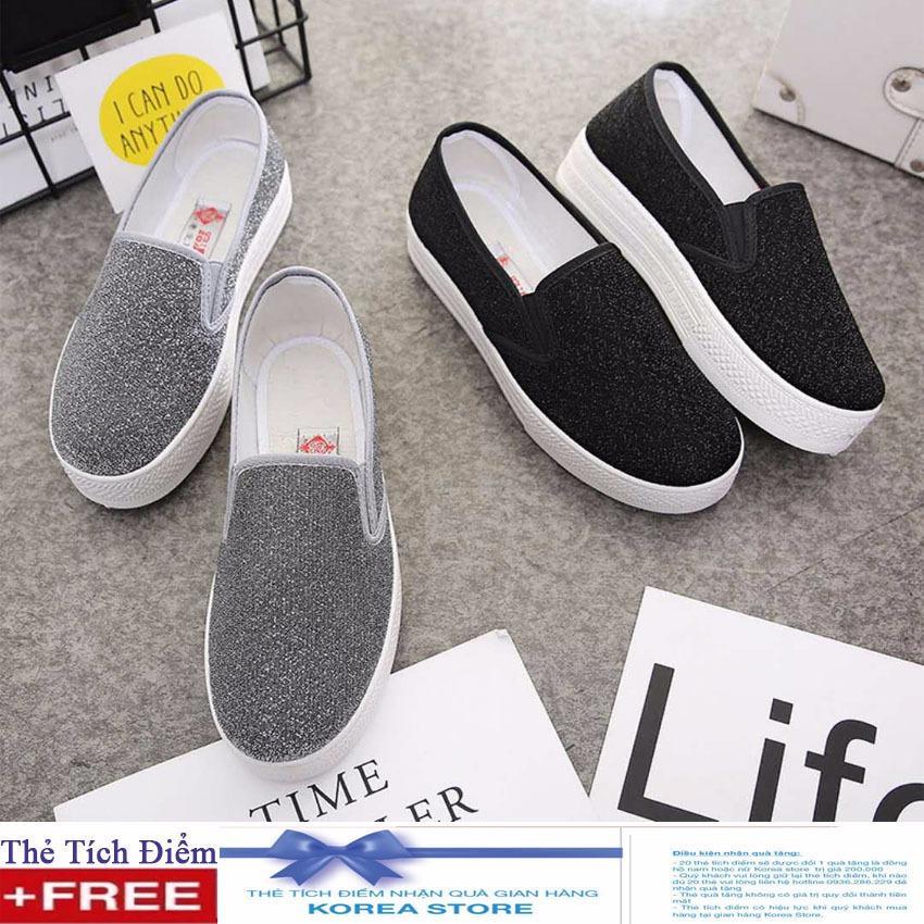 Giày Slip on kim tuyến , nhũ bạc sành điệu + Tặng kèm 1 thẻ tích điểm KoreaStore