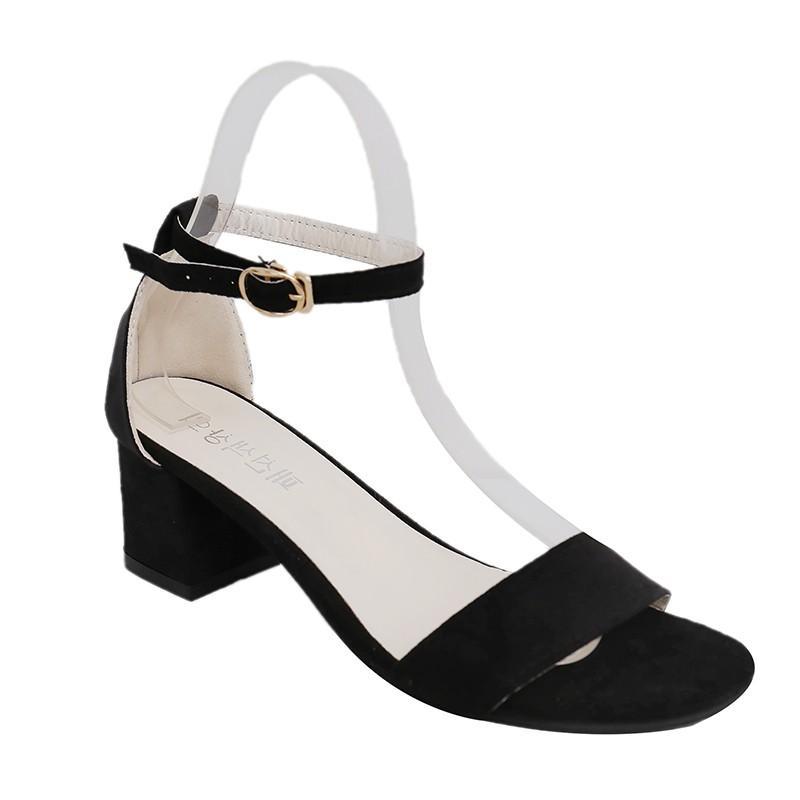 Giày dép sandal cao gót 5 phân da lộn quai ngang đế vuông + Tặng thẻ tichd điểm Shop Shop Việt