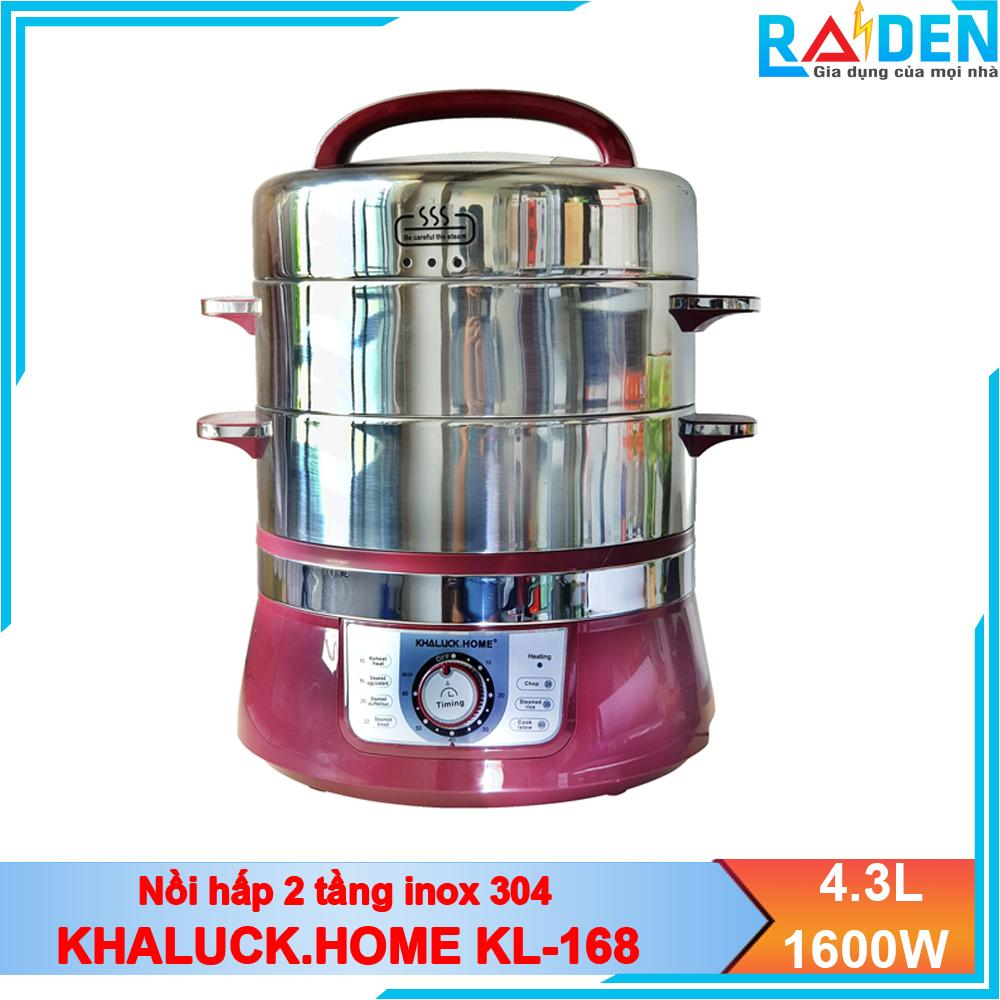Hình ảnh Nồi hấp 2 tầng hấp bánh, hấp cá, nấu lẩu đa năng Khaluck.Home KL-168 chất liệu inox 304, công suất 1600W, dung tích 4.3L, hấp chín thức ăn nhanh
