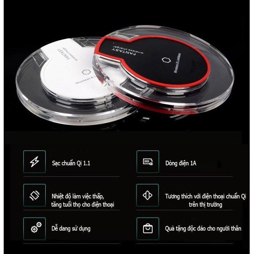 Hình ảnh Đế sạc không dây thông minhh chuẩn Qi - Sạc nhanh 1A dùng cho các dòng điện thoại chuẩn Qi