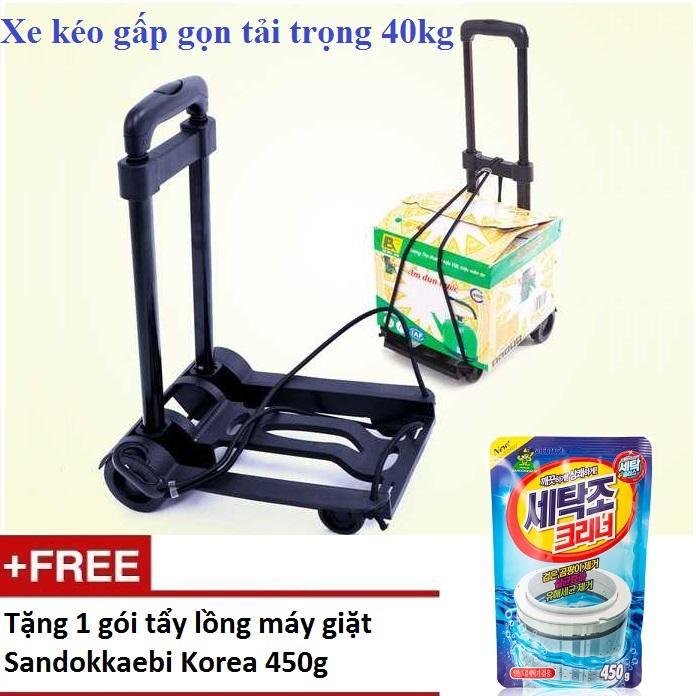 Xe kéo hàng gấp gọn tải trọng 40kg + Tặng 1 gói tẩy lồng máy giặt Hàn Quốc 450g SV827