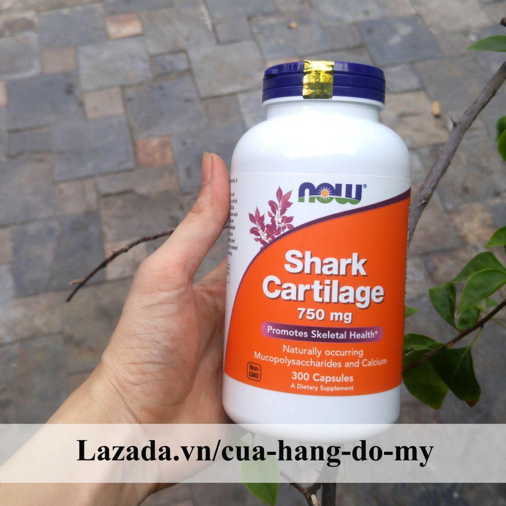 Thực phẩm viên sụn vi cá mập Now Shark Cartilage 750mg 300 Viên - hỗ trợ các bệnh về xương khớp