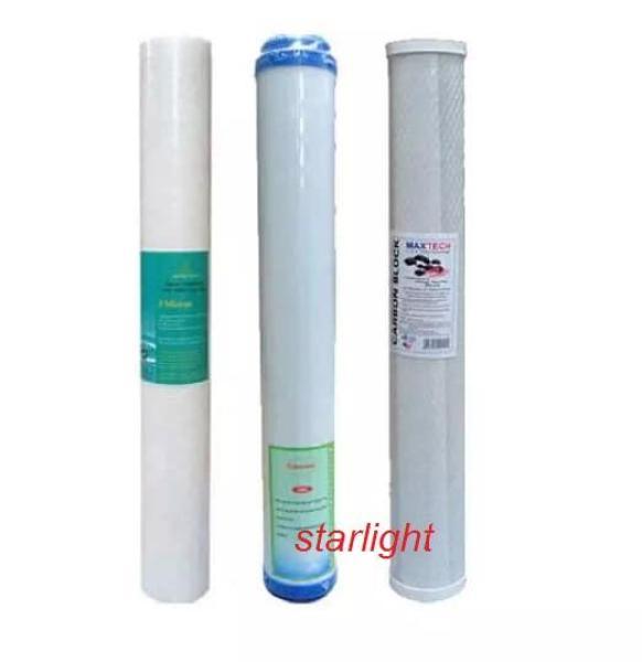 Bộ sản phẩm 3 lõi lọc thô số 1,2,3  20inch, dùng lọc nước sinh hoạt -star