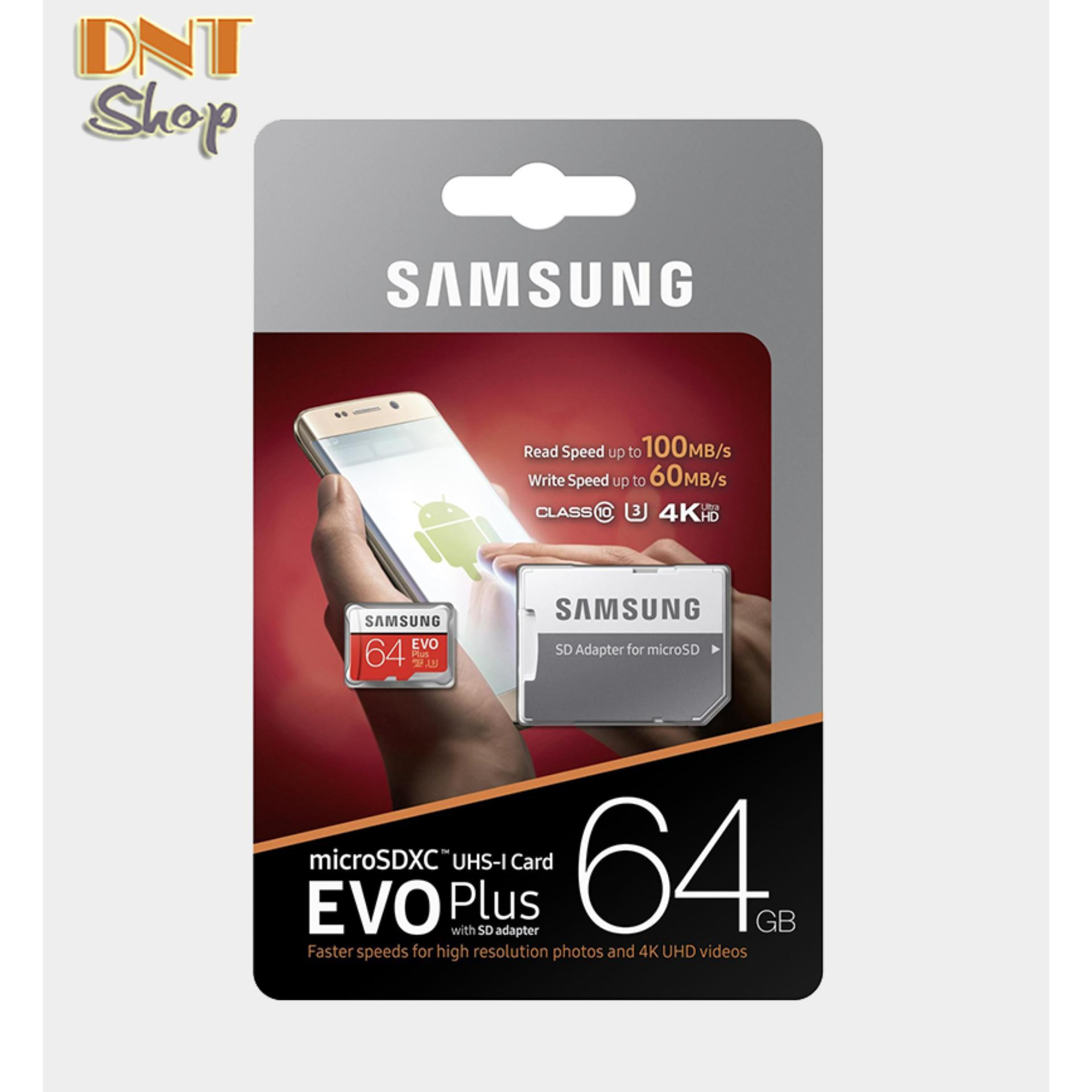 Thẻ nhớ MicroSDXC Samsung EVO Plus 64GB U3 4K - W60MB-R100MB With Adapter