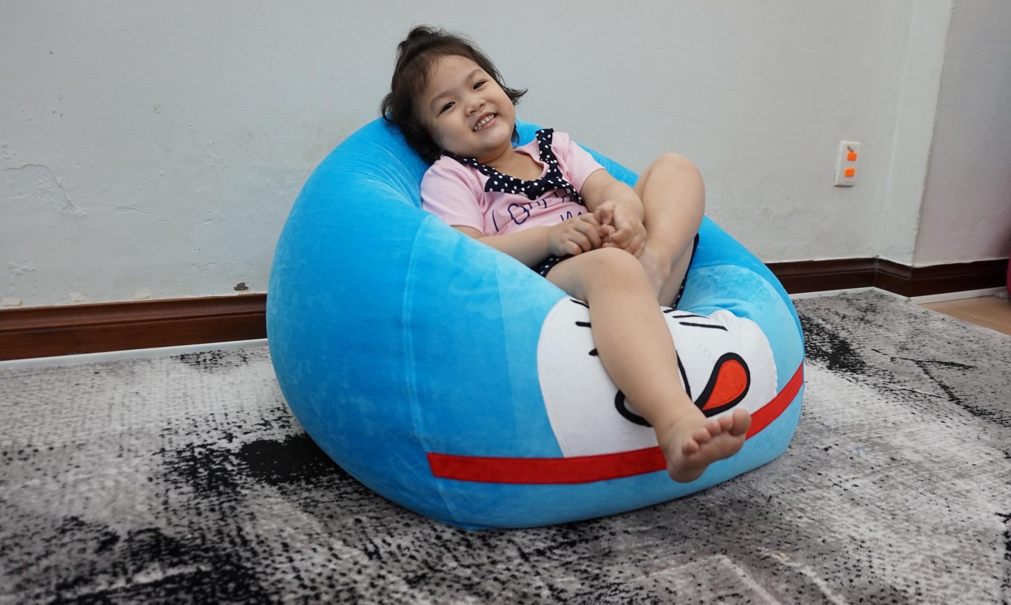 Ghế lười giọt nước Đoremon size S (màu xanh da trời + trắng) - nội thất dành cho trẻ em