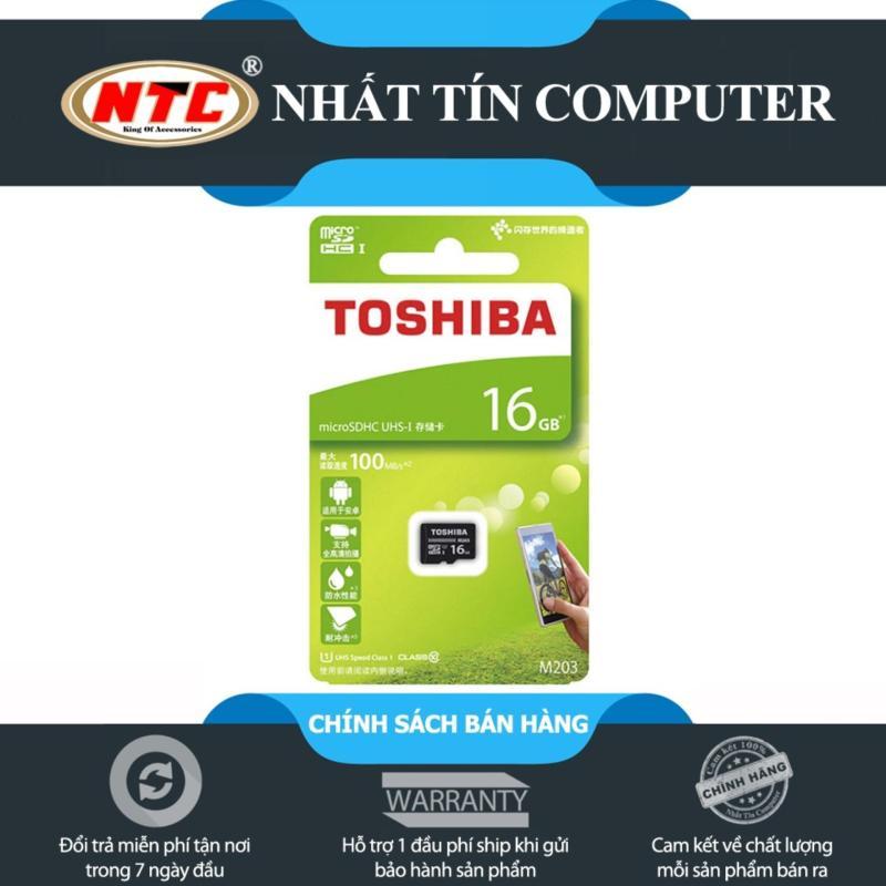 Thẻ nhớ MicroSDHC Toshiba M203 UHS-I U1 16GB 100MB/s - chuyên camera và điện thoại (Đen)