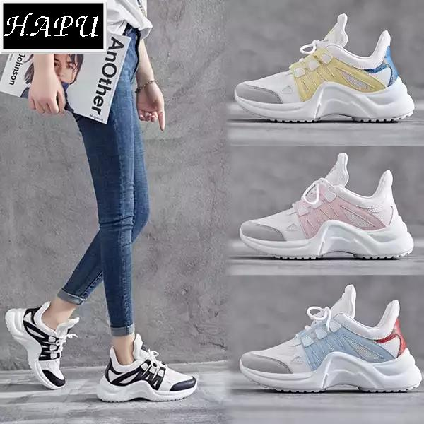 Hình ảnh (VIDEO) Giày sneaker nữ HOT TREND ULZZANG mới nhất pha màu HAPU (trắng hồng, trắng xanh, trắng đen, trắng vàng)