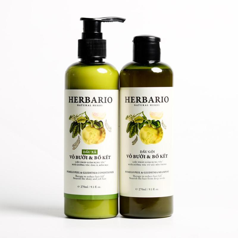 Bộ dầu gội herbario + Dầu xả tóc vỏ bưởi & bồ kết chuyên tóc giá rẻ
