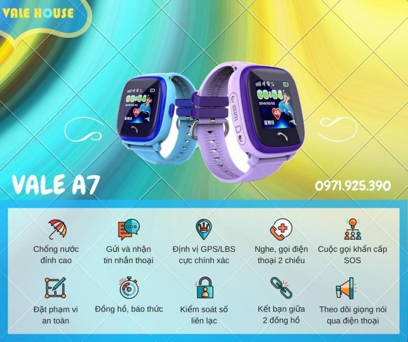 Đồng hồ định vị trẻ em VALE A7 Hồng bán chạy