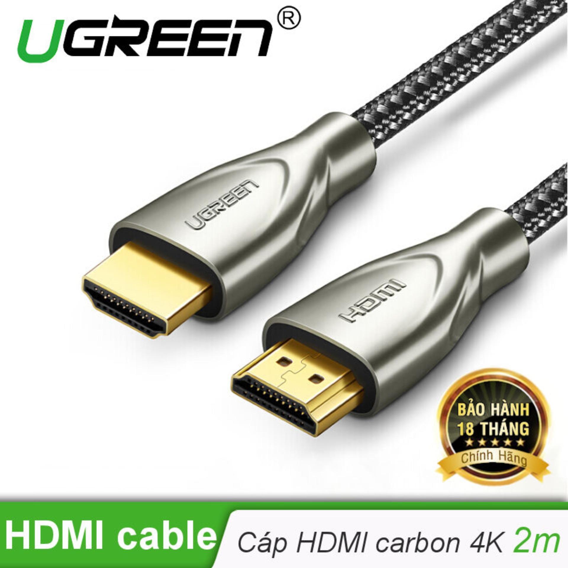 Cáp HDMI 2.0 Carbon chuẩn 4K@60MHz  mạ vàng cao cấp dài 2m UGREEN HD131 50108 - Hãng phân phối chính thức