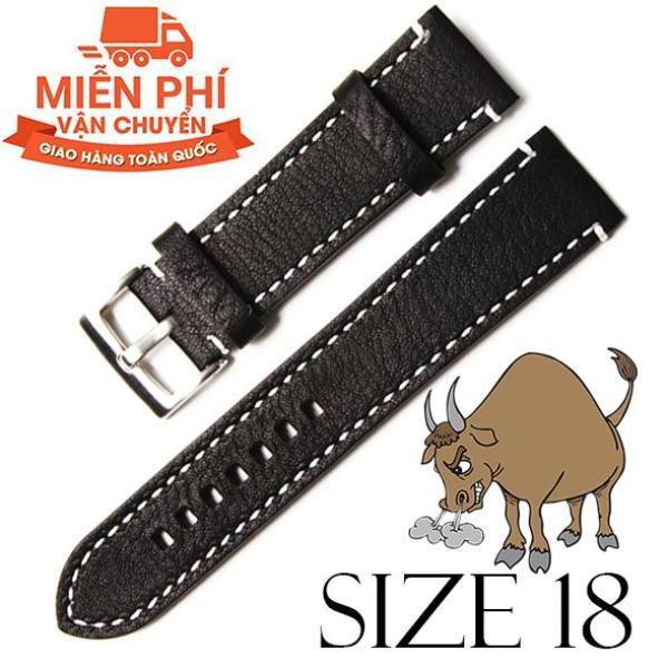 Nơi bán Dây đồng hồ da bò cao cấp SIZE 18mm (đen)