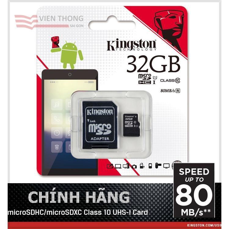 Mua Bộ Thẻ Nhớ Kingston 32Gb Micro Sdhc C10 Uhs Va Adapter Đen Hang Phan Phối Chinh Thức Trực Tuyến