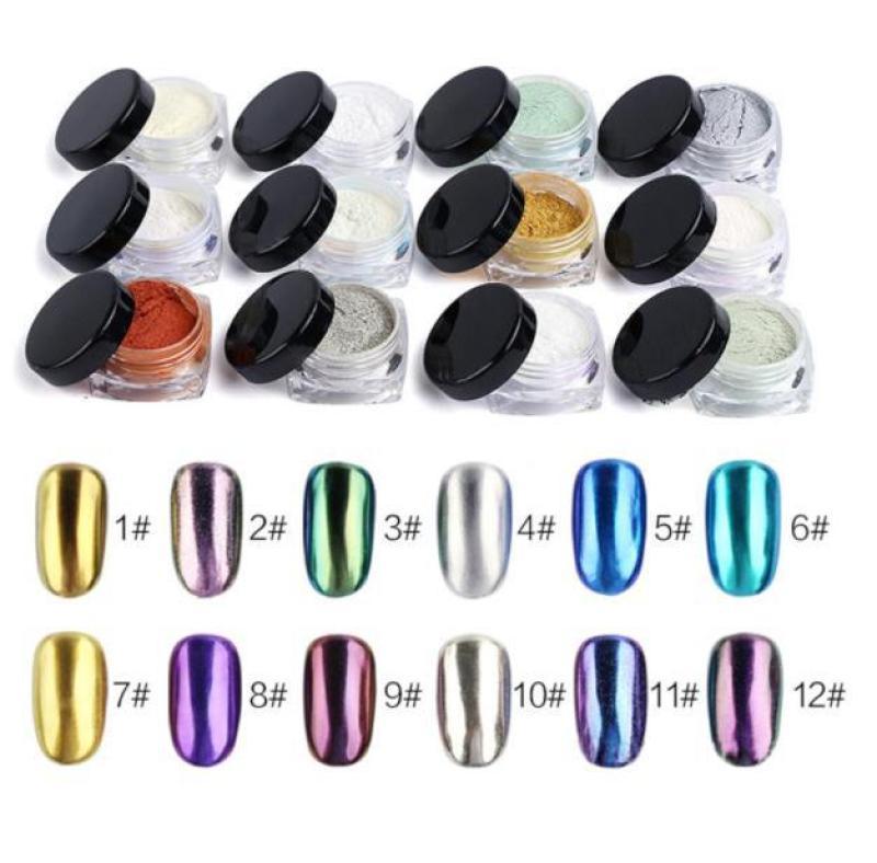 Bột màu giả kim hiệu ứng Gương trang trí móng tay (1gram Tím Cà Nhạt #9) giá rẻ
