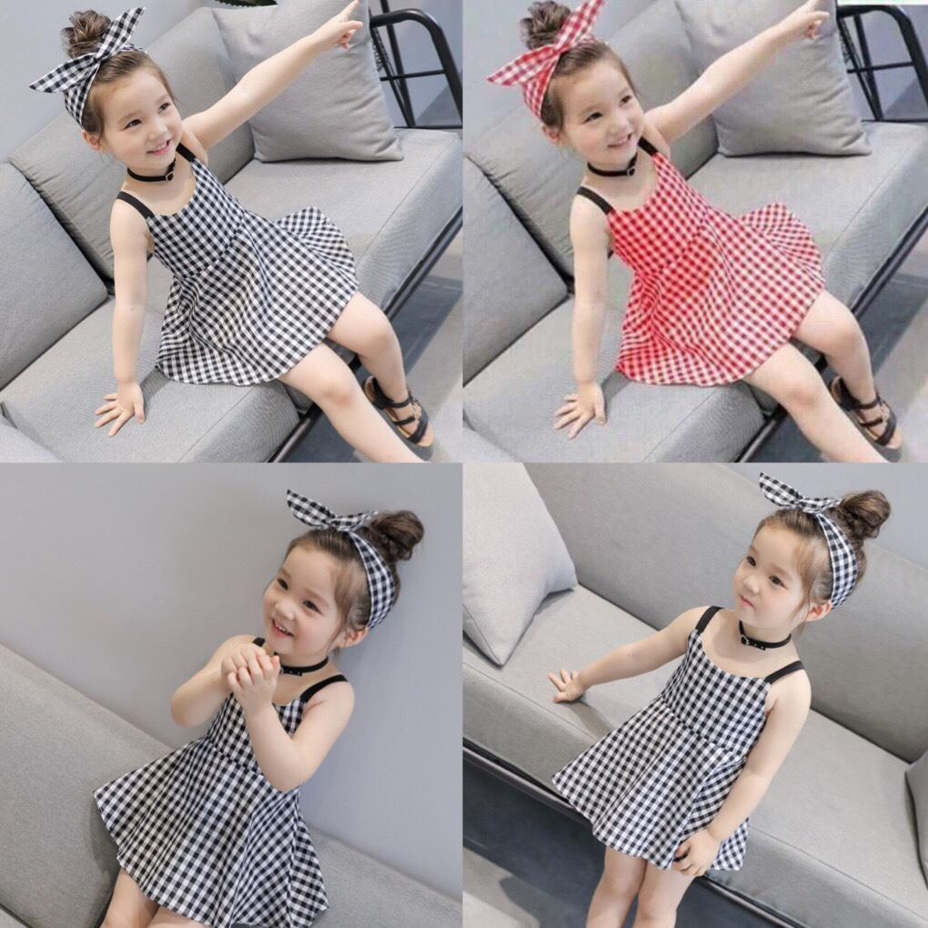 Giá bán FREE SHIP TỪ 199k- Com bo 02 Váy thiết kể kẻ caro kèm băng đô cho bé gái ( 02 bộ mầu ghi và đỏ như hình)