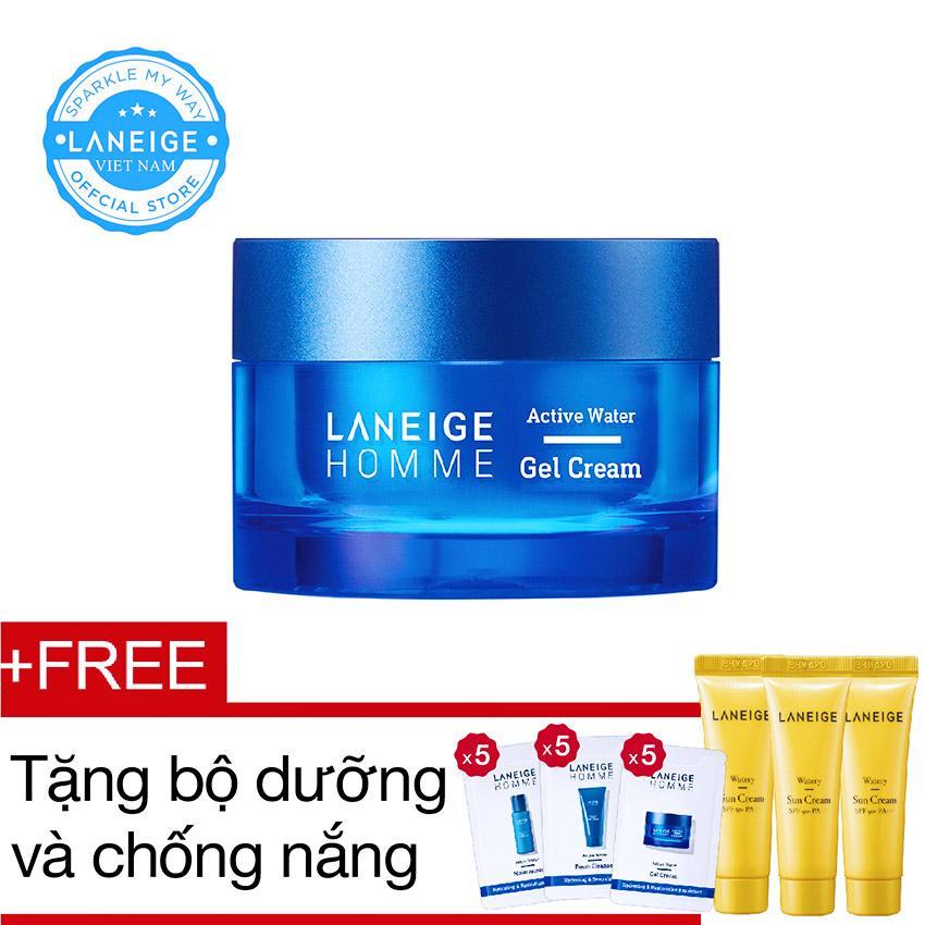 Kem dưỡng ẩm dạng gel Laneige Homme Active Water Gel Cream 50ml + Tặng bộ dưỡng và chống nắng