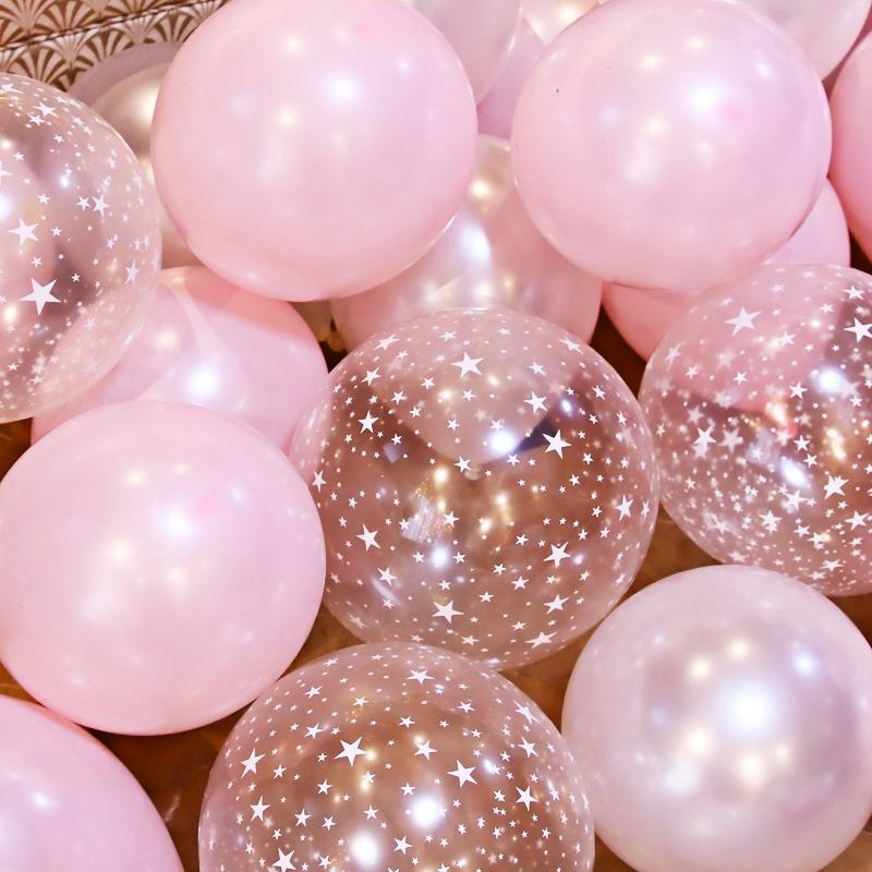 Hình ảnh Combo 100 vỏ bóng màu hồng nhạt và bóng trong suốt in hình sao