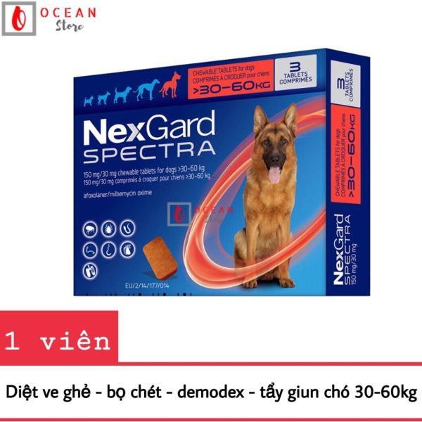 Thuốc trị ve ghẻ, bọ chét, demodex, tẩy giun cho chó - 1 viên Nexgard Spectra cho chó 30-60kg (1 tablet 30-60kg - No Box)