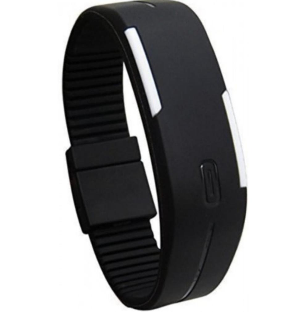 Hình ảnh Đồng hồ LED dây nhựa kiêm vòng tay (Đen)
