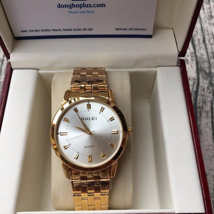 Nơi bán [SIÊU KHUYẾN MẠI] TẶNG 2 PIN DỰ TRỮ + VÒNG TỲ HƯU 100K khi mua Đồng hồ nam halei 2V vàng chống nước, chống xước