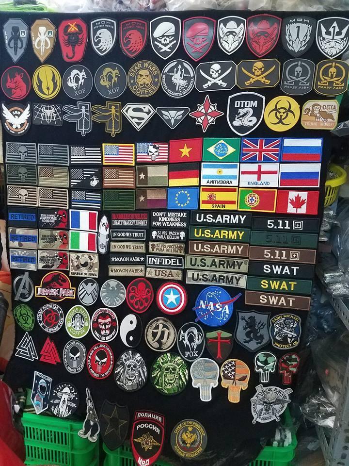 Hình ảnh Logo Patch velcro dán xé vải thêu cờ Đức Braxin US army trang trí áo khoác lính, balo lính, đồ lính