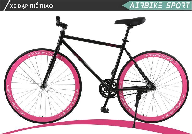 Xe đạp Fixed Gear Air Bike MK78 (đen hồng)