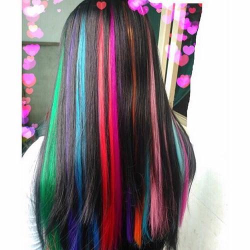 Line tóc giả siêu xinh tép 3d dài 60cm màu xanh neon nhập khẩu