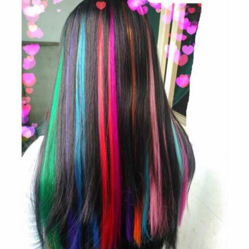 Line tóc giả siêu xinh tép 3d dài 60cm màu hồng nhạt nhập khẩu