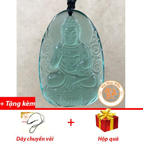 Mặt Dây Chuyền Phật Bản Mệnh A Di Đà Lưu Ly Xanh