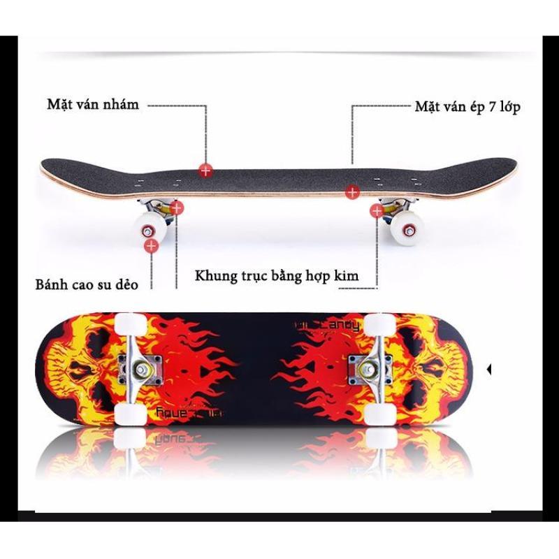Ván trượt mặt nhám bánh cao su Skateboard cao cấp