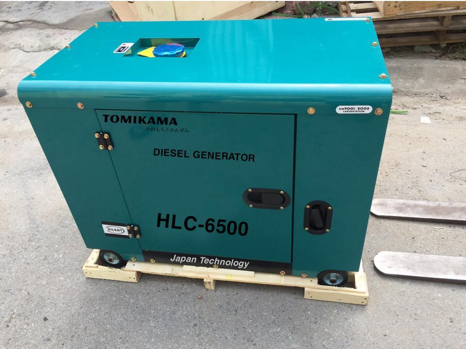 Máy phát điện Tomikama HLC 8500 công suất 7,5kw, đề nổ, chạy dầu, vỏ chống ồn
