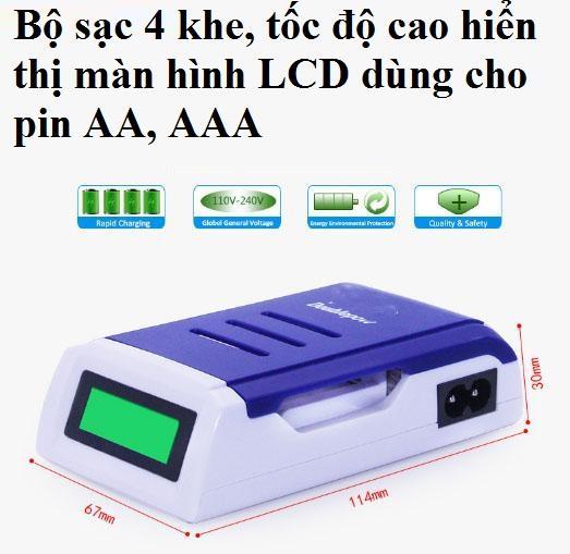 Mã Khuyến Mãi Bộ Sạc Thông Minh Tốc độ Cao Hiển Thị Màn Hình LCD Dùng Cho Pin Tiểu Sạc AA , Pin đũa Sạc AAA