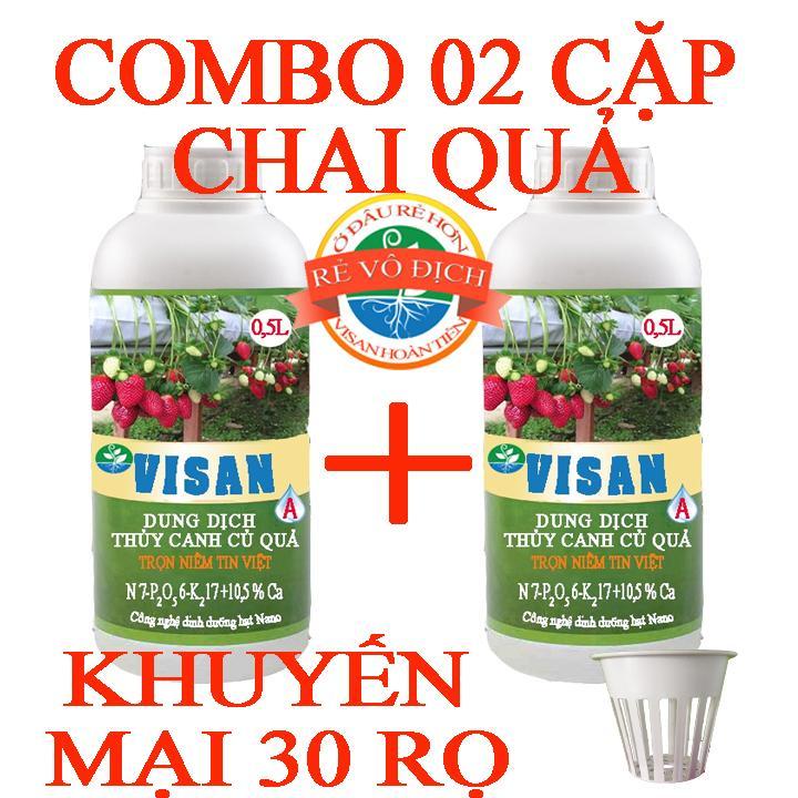 Dinh dưỡng thủy canh Combo 02 cặp chai quả tặng 30 rọ thủy canh