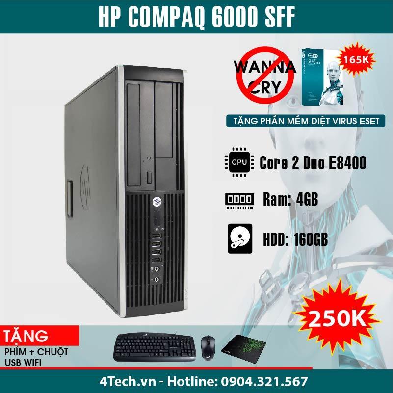 Máy tính đồng bộ HP Compaq 6000 Pro SFF Core 2 Duo E8400 (Đen), 4GB RAM, 160GB HDD + Tặng 1 bộ bàn phím, Chuột, Bàn di chuột.