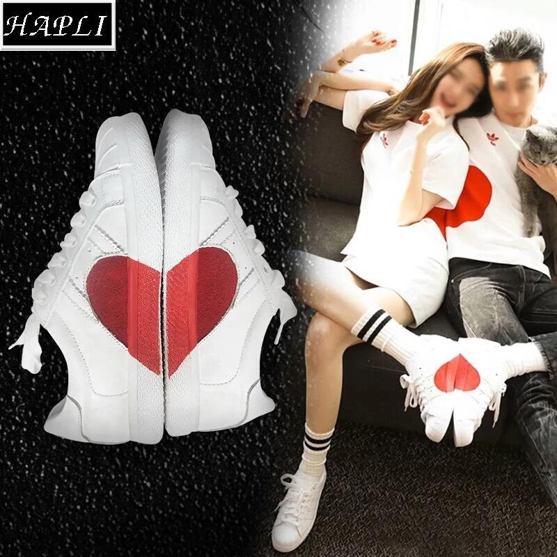 Chiết Khấu Sản Phẩm Giay Thể Thao Sneaker Nữ Trai Tim Ghep Hapli Trắng