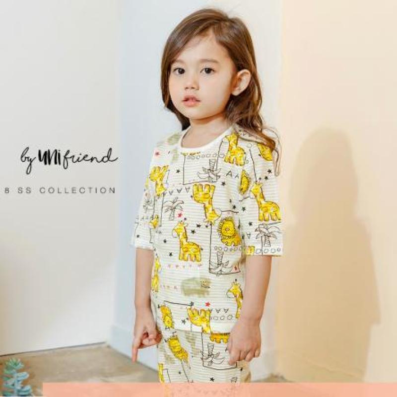 Nơi bán Bộ uniFriend Hàn Quốc cao cấp ngắn lửng cho bé gái họa tiết hươu vàng dễ thương