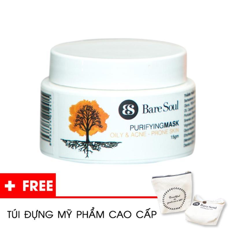 Mặt nạ thanh lọc BareSoul – Da dầu và trị mụn 15g – Hàng chính hãng – Purifying Mask Oily & Acne Prone Skin + Tặng túi mỹ phẩm cao cấp