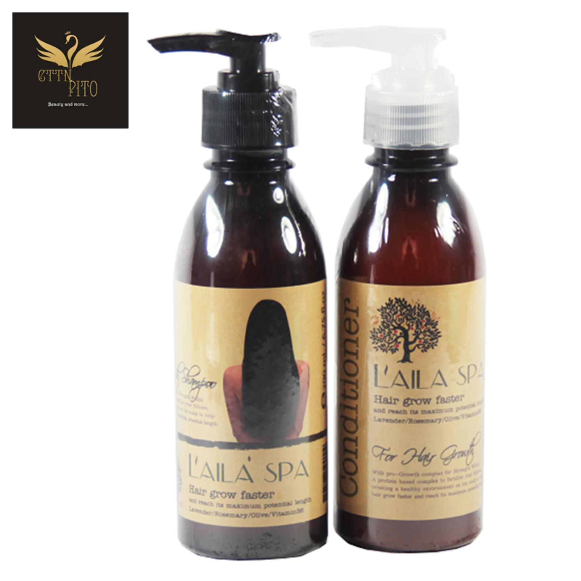 Bộ Dầu Gội và Dầu Xả Thảo Mộc Kích Thích Mọc Tóc Laila Spa Hair Grow Faster Shampoo & Conditioner 200ml nhập khẩu
