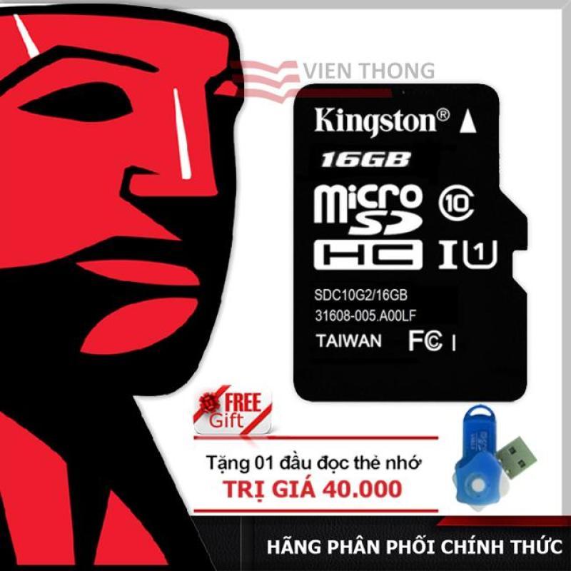 Thẻ nhớ 16GB Kingston UP TO 80MB/S Micro SDHC Class10 + Tặng 1 đầu đọc thẻ nhớ micro PT