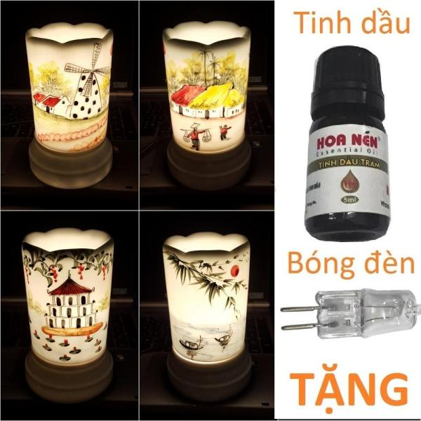 Đèn xông tinh dầu sứ Bát Tràng hình Ống TẶNG Tinh dầu + Bóng đèn cỡ TO 9 x 16,5cm / Đuổi muỗi Diệt muỗi Đèn trang trí