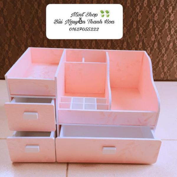 Khay đựng mỹ phẩm siêu to 35cm hồng phấn, khay đựng son, Khay đựng đồ trang điểm, tủ mini