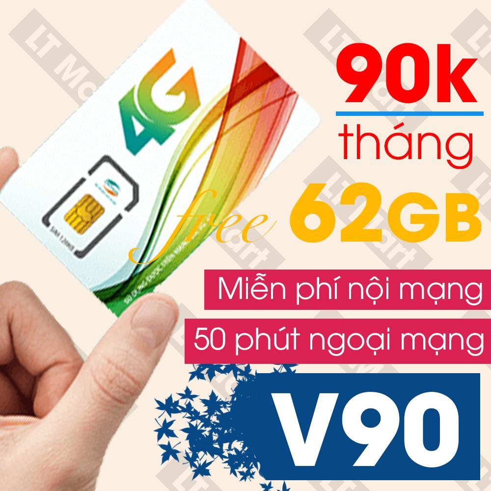 Sim 4G Viettel V90 (60Gb + 4350 phút gọi miễn phí / tháng)