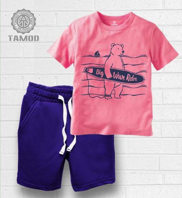 Quần áo bé trai TAMOD in hình Gấu lướt sóng dễ thương.