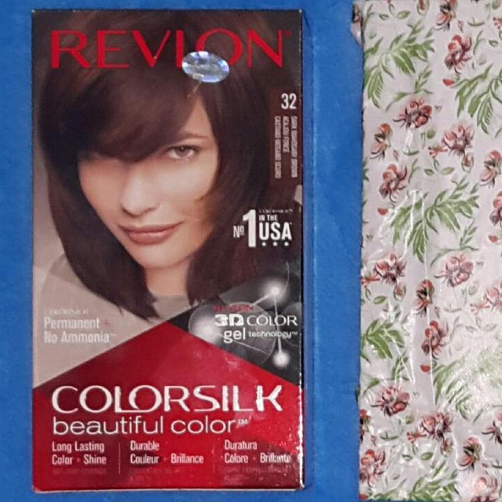 Thuốc nhuộm tóc Revlon No 1 in the USA ColorSilk 3D # 32 Nâu Gỗ Sậm + 01 nón trùm tóc