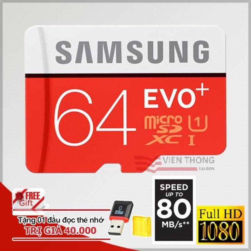 Thẻ nhớ MicroSDHC Samsung Evo+ 64GB 80MB/s (Đỏ) + Tặng 01 đầu đọc thẻ nhớ MicroSD PT
