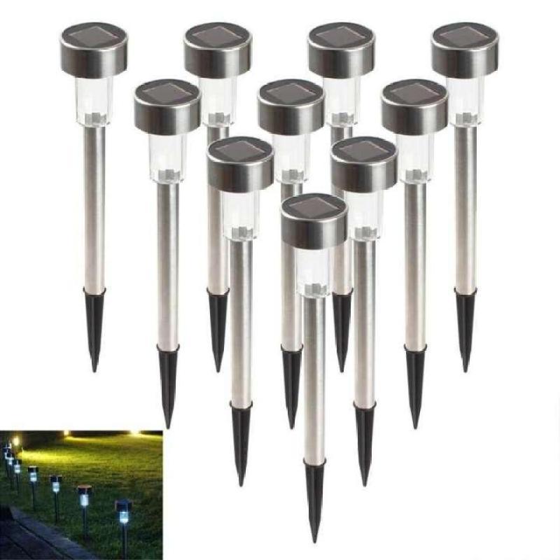 [Lớn] -Bộ 10 đèn cắm đường đi sân vườn trang trí năng lượng mặt trời tự sạc (Trắng)