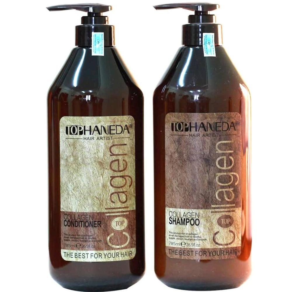 Cặp dầu gội/xả cho tóc hư tổn nặng do sử dụng hóa chất, tạo kiểu Top Haneda Collagen 785ml (1gội + 1xả) nhập khẩu