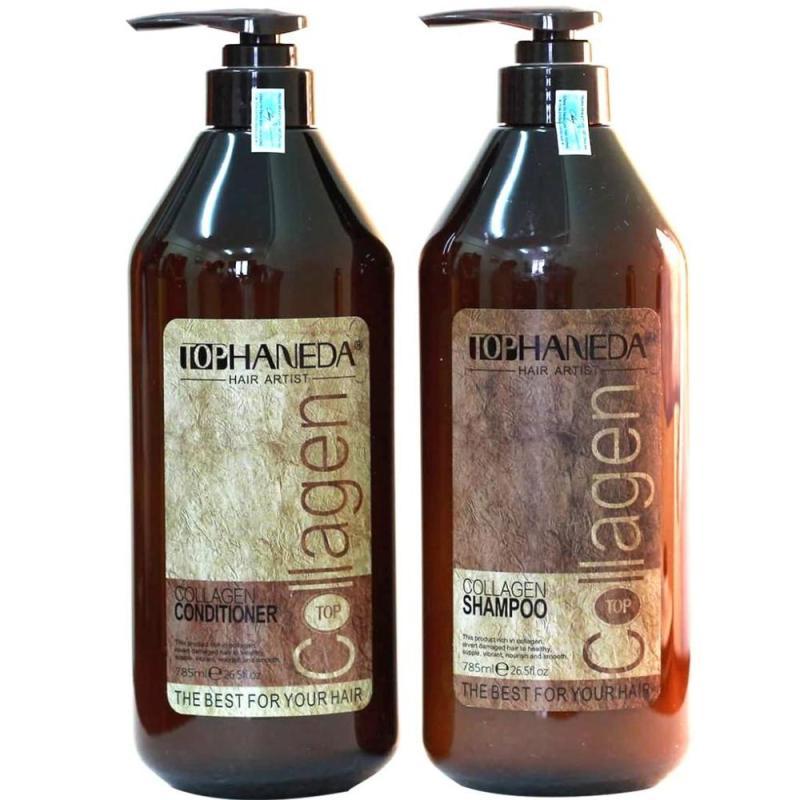 Cặp dầu gội/xả cho tóc hư tổn nặng do sử dụng hóa chất, tạo kiểu Top Haneda Collagen 785ml (1gội + 1xả)