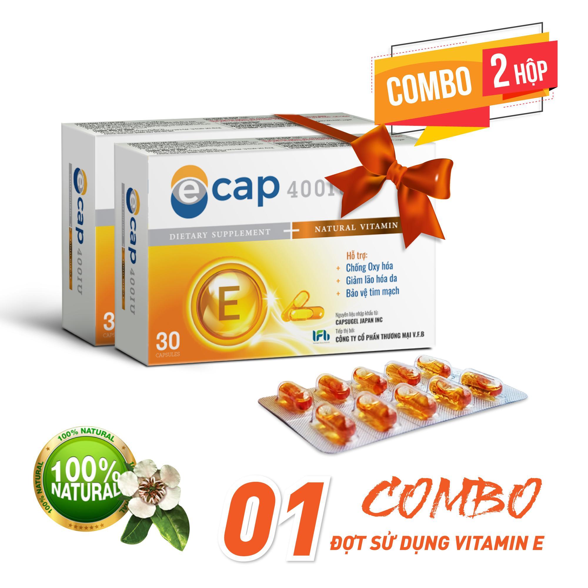 Combo 1 đợt dùng Vitamin E 400IU Tự Nhiên chất lượng Nhật Bản ( 2 hộp Ecap)